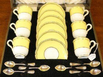 Royal Worcester Coffee Set - Silver Spoons 1934