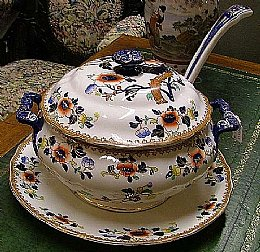Victorian Soup Tureen with Stand & Ladle