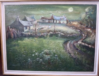 "Painting of Cottages Signed ""Gordon"""