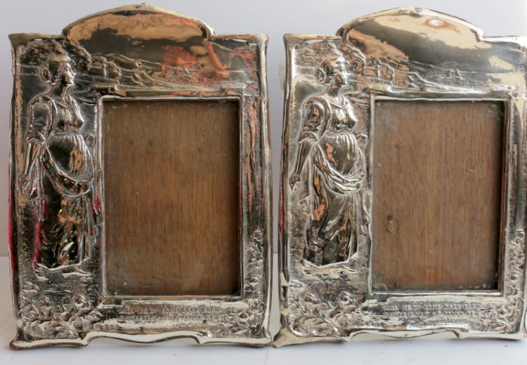 Castle Close Antiques - art nouveau silver photo frames - Silver & Glass